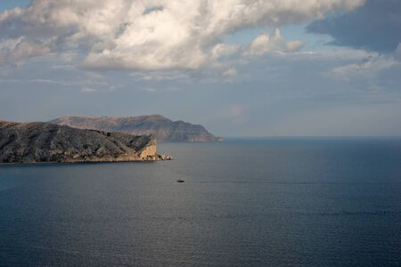 promontory: Black sea landscape, view on promontory, evening, Crimea