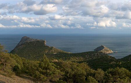 brushwood: Crimea mountains and Black sea landscape, evening lighting