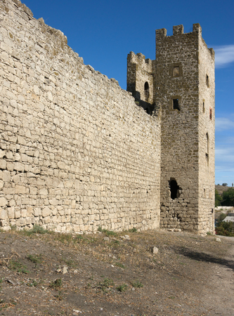 stronghold: medieval Genoese stronghold in Crimea, sunny day Stock Photo