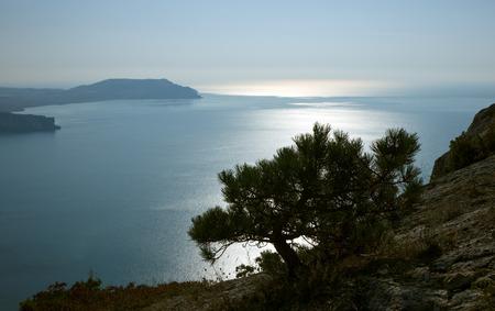 Crimea mountains and Black sea landscape, good sunny morning
