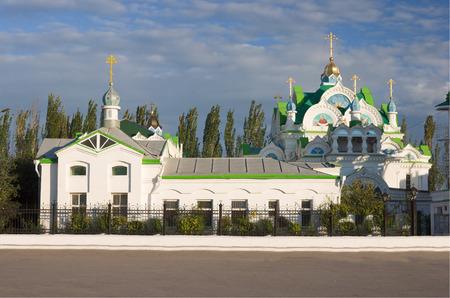evening church: Church of sait Ekaterina in Feodosiya, evening lighting Stock Photo