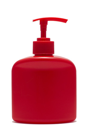 red bottle with dispenser isolated
