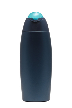 rinse: Blue tube bottle of shampoo, conditioner, hair rinse, gel, mouthwash on a white background isolated. Stock Photo