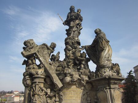 Prague statue on Charles bridge Banco de Imagens