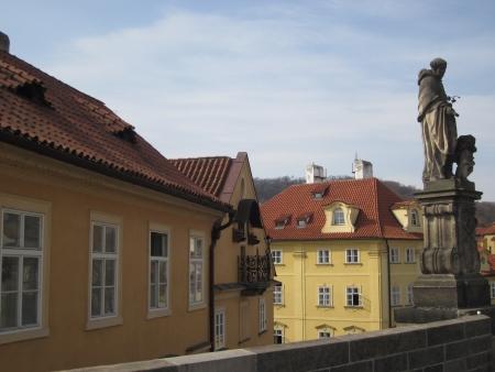 Prague view Mala Strana left side of Charles bridge