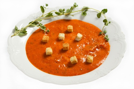 croutons: Tomato soup with croutons Stock Photo