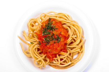 panicky: Spaghetti with tomato sauce Stock Photo