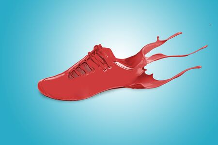 sports shoe: red sports shoe with splash