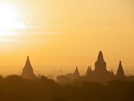 sunrise with ancient pagodas in Bagan photo