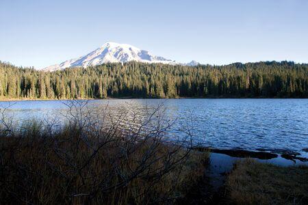 mount rainier: Mount Rainier in fall view from reflection lake, Washington