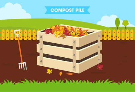 compost: Compost Pile Flat Design Concept Illustration