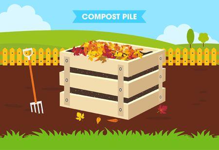 compost: Compost Pile Flat Design Concept Illustration