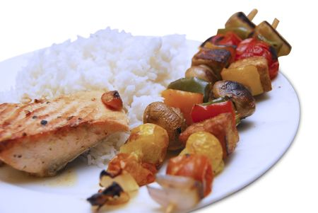 kabab: grilled vegetable kabab with fish