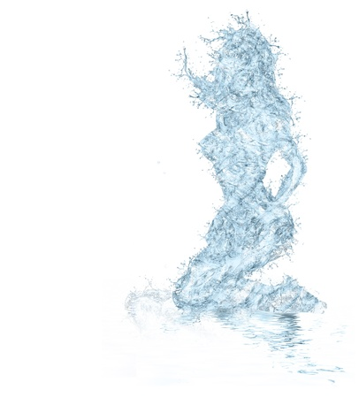 frozen waves: water shaped girl created from water splash isolated in white