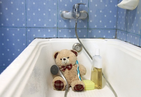 teddy bear waiting for a wash Stock Photo - 9944967