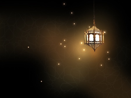 eid: lantern with classic arabic texture Stock Photo