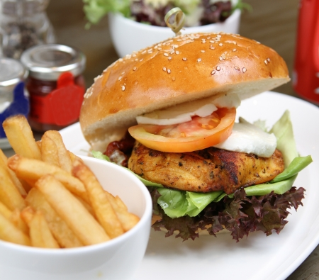 chicken cajun burger with salad and french fries photo