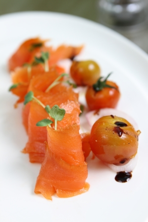 freshly prepared: freshly prepared salmon with cherry tomato Stock Photo