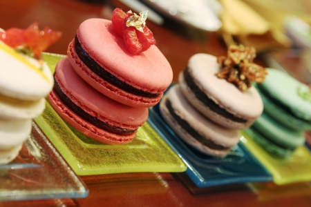 flavored assorted sweet french macarons photo