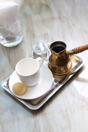 moroccan coffee, arabic coffee, turkish coffee setup photo