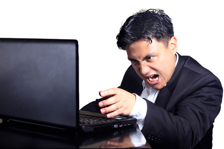 empresario enojado: hombre de negocios enojado en conferencia telef�nica la expresi�n facial
