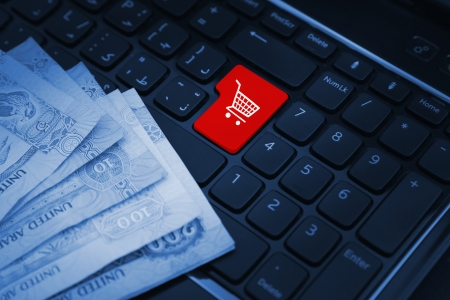 cross processed: Online shopping concept, shopping cart symbol Stock Photo