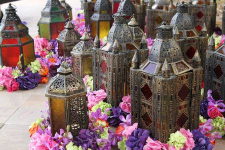 Arabic lamps with flowers photo