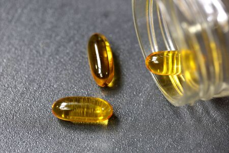 fish oil: fish oil supplement Stock Photo