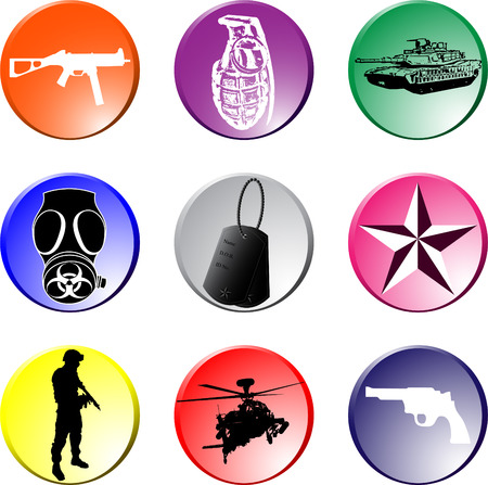 Elements of War Lapel Buttons: The different graphics are all on separate layers so they can easily be moved or edited individually. The file can be scaled to any size without loss of quality. Illustration