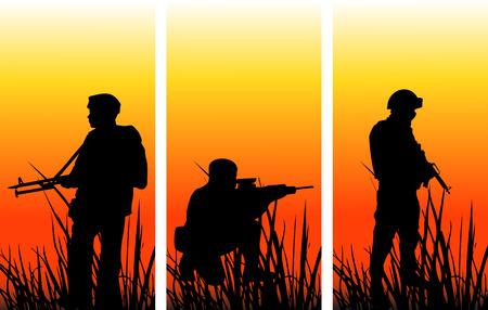 etre diff�rent: Les soldats sur op�ration militaire: Les graphiques sont toutes sur diff�rentes couches de sorte qu'ils peuvent �tre d�plac�s ou modifi�s individuellement. Le fichier peut �tre adapt� � n'importe quelle taille sans perte de qualit�. Illustration
