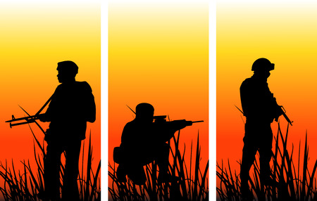 Soldiers on military operation: The different graphics are all on separate layers so they can easily be moved or edited individually. The file can be scaled to any size without loss of quality.