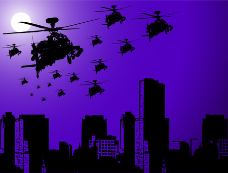 the air attack: War Operation at Night: The different graphics are all on separate layers so they can easily be moved or edited individually. The file can be scaled to any size without loss of quality. Illustration