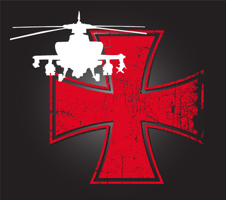 Military helicopter against the backdrop of a distressed Iron cross: The different graphics are all on separate layers so they can easily be moved or edited individually. The file can be scaled to any size without loss of quality. Stock Vector - 4544348