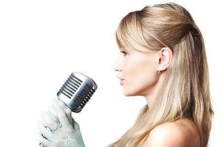 singing girl: Canto ni�a Foto de archivo