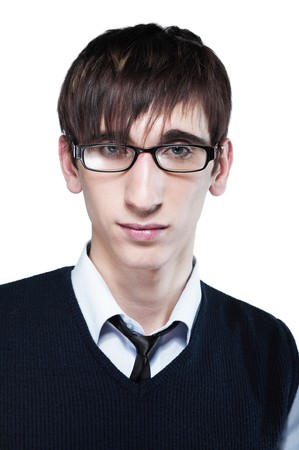 cute young guy with fashion haircut wearing glasses, on white photo
