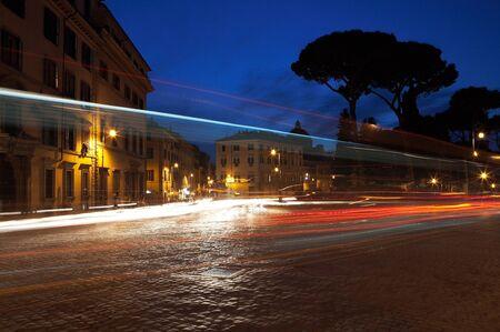 nightscene: Nightscene in Rome. Slow exposure of traffic at night.