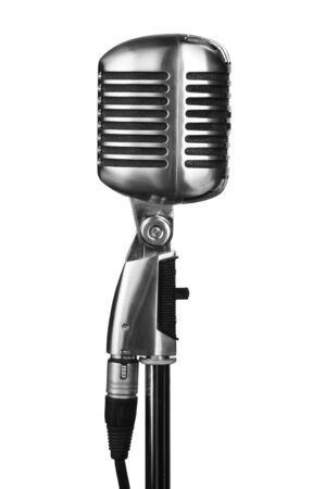 Retro microphone on stand isolated on white photo