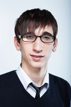 cute young guy with fashion haircut wearing glasses Stock Photo - 4408961