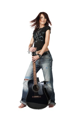 school girl sexy: Teenager girl standing with acoustic guitar, isolated on white