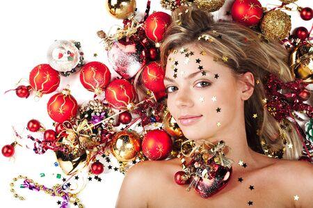 Beautiful female with Christmas decoration on white photo