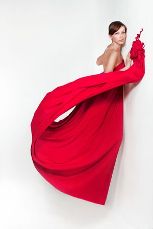 wind dress: Lady in red