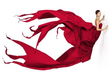 plan �loign�: Belle femme portait une robe rouge