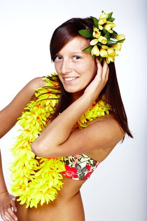 Beautiful exotic girl with Hawaiian accessories  photo