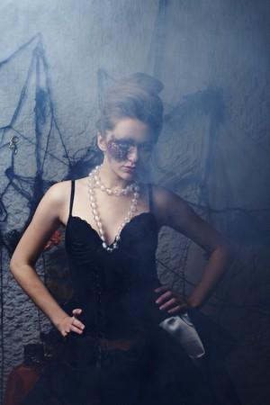 Burnt glamorous girl, Halloween party  photo