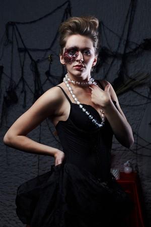 Burnt glamorous girl, Halloween party Stock Photo - 7979537