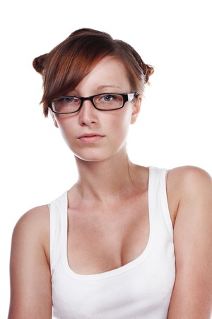 Pretty Female Student wearing glasses isolated on white background  photo