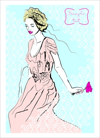 Fashion illustration with girl and flower