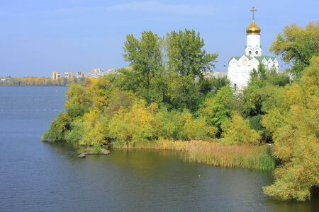 dnepr: Island with cloister in the middle of the river Dnepr in Dnepropetrovsk