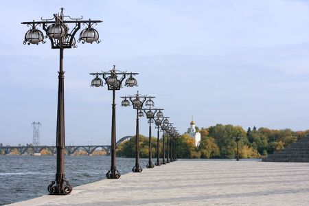Bank of the river Dnepr in Ukraine photo