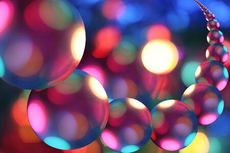 Row of multicolored spheres, looks like fantastic planets in abstract universe photo